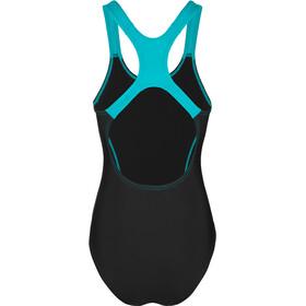 speedo Gala Logo Medalist Swimsuit Dame black/aquasplash